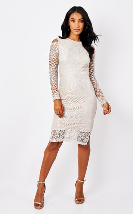 Silver Cold Shoulder Lace Midi Dress by True Decadence Product photo