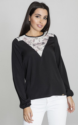 Long Sleeve Blouse with Floral Print Detail in Black by FIGL