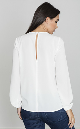 Long Sleeve Blouse with Floral Print Detail in White by FIGL