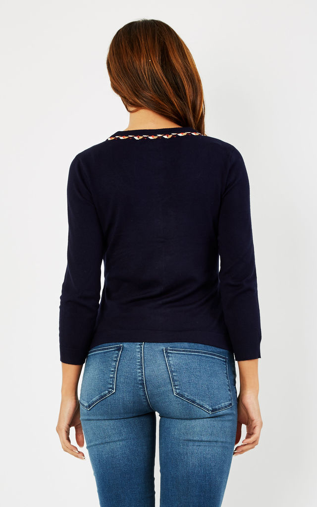 NAVY VIVIENNE CARDIGAN by Fever London