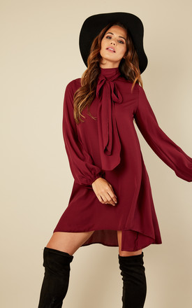 Burgundy Pussy Bow Hi Low Dress by Lilah Rose