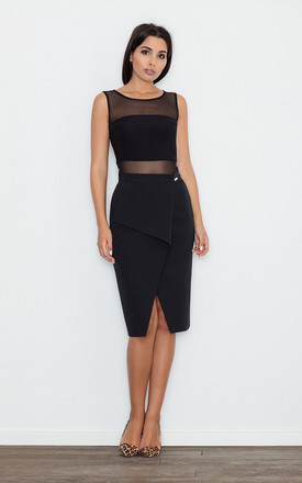 Pencil Skirt with Overlap Detail in Black by FIGL