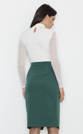 Pencil Skirt with Overlap Detail in Green by FIGL