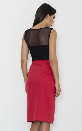 Pencil Skirt with Overlap Detail in Red by FIGL