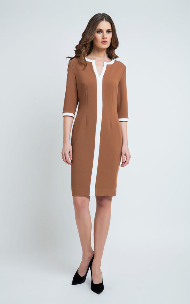 Straight Trim Detail Dress in Brown/White by Conquista Fashion