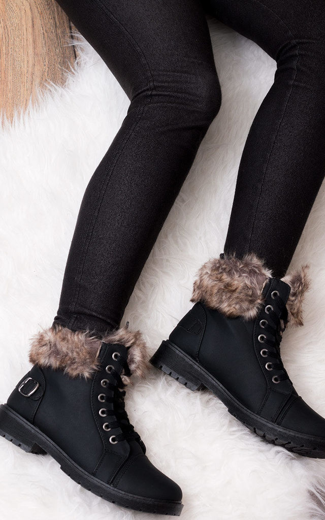 FUFFA Lace Up Flat Fur Style Ankle Boots Shoes - Black Leather Style by SpyLoveBuy