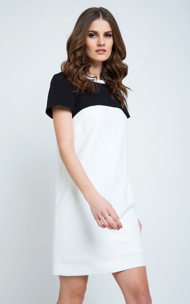 Cream and Black Short Sleeve Dress by Conquista Fashion