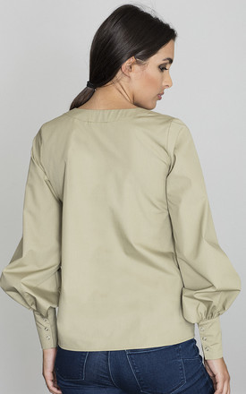 Olive Green Puff Sleeve Shirt by FIGL
