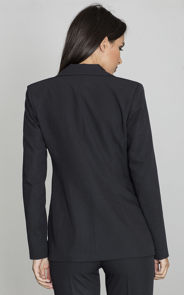 Tailored Blazer with a Single Button in Black by FIGL
