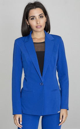 Tailored Blazer with Single Button in Cobalt Blue by FIGL