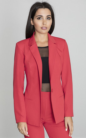 Tailored Blazer with a Single Button in Red by FIGL