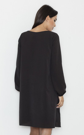 Black V-Neck Loose Dress by FIGL