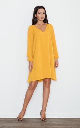 Yellow V-Neck Loose Dress by FIGL
