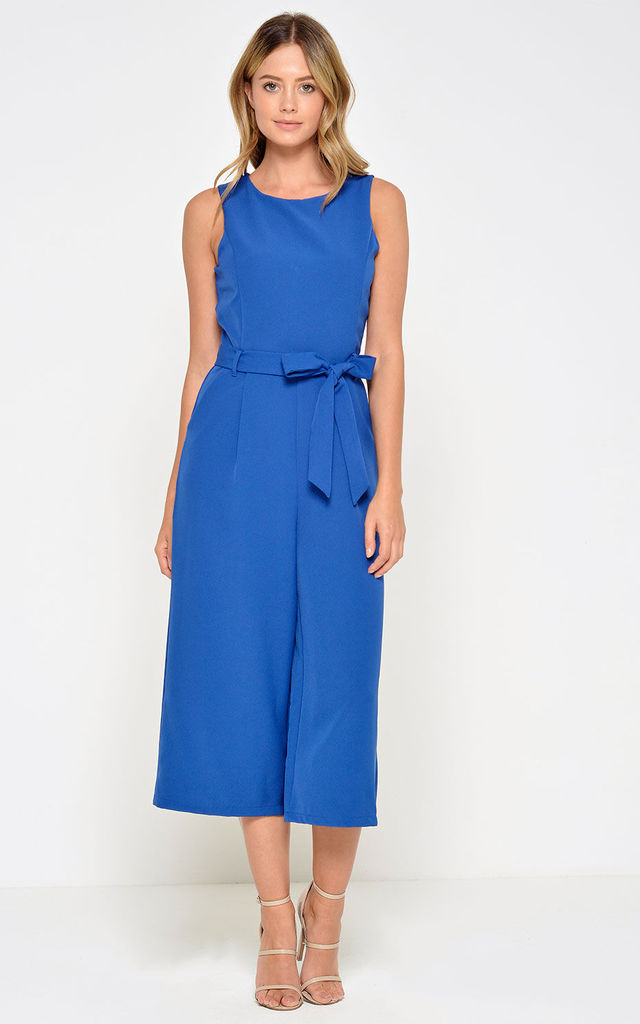 Culotte Jumpsuit in Royal Blue by Marc Angelo