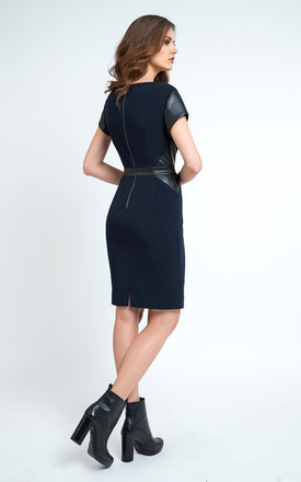 Pleather Detail Dress by Conquista Fashion