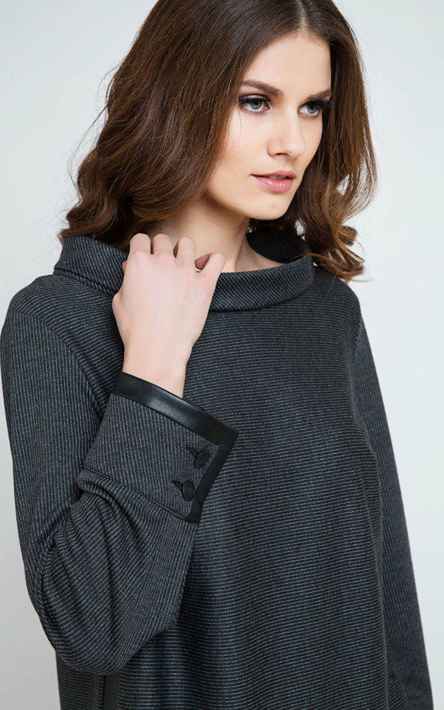 Pleather Detail Top in Dark Grey by Conquista Fashion