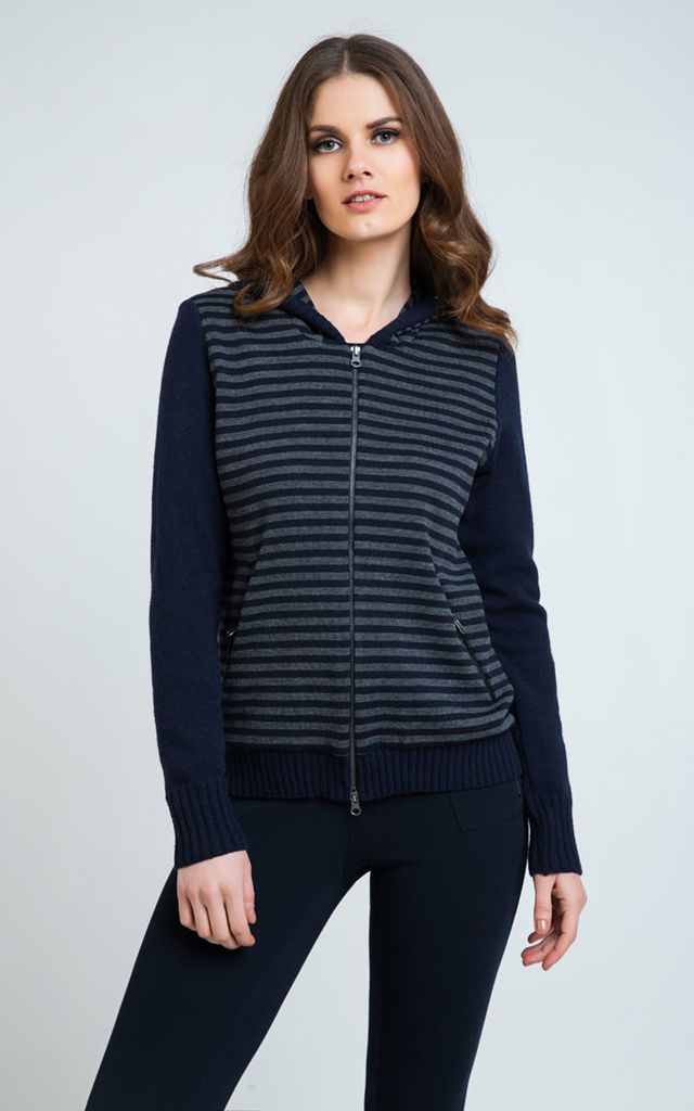 Striped Cardigan with Hood by Conquista Fashion