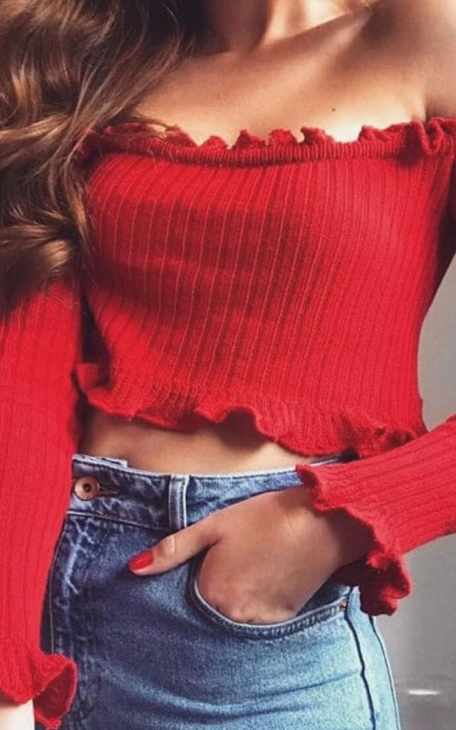 Red Frill Bardot Knitted Crop Top by The Fashion Bible