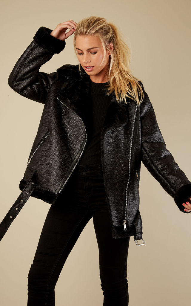 Black Faux Fur Lined Aviator Jacket by Bella and Blue