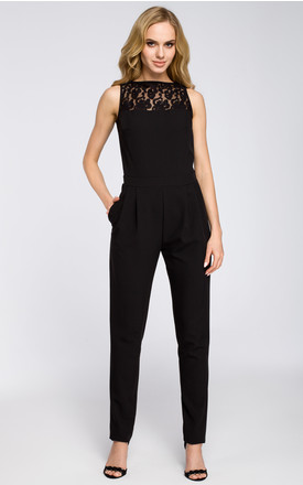 Black jumpsuit sleeveless with decorative lacey neckline and a slit at the back by MOE