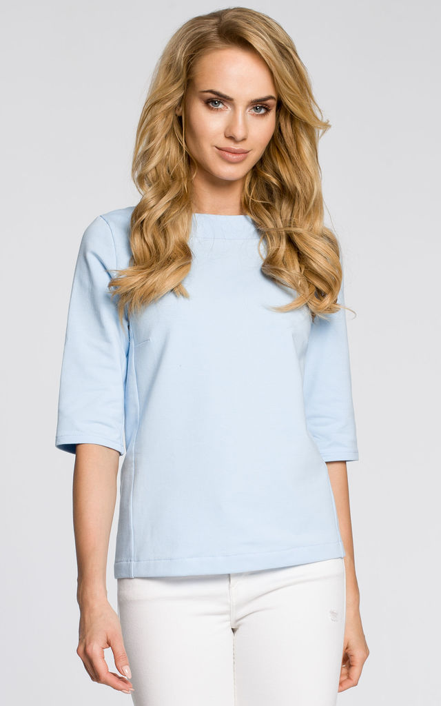 Light Blue Plain Blouse Tied at the Back with Short Sleeves by MOE