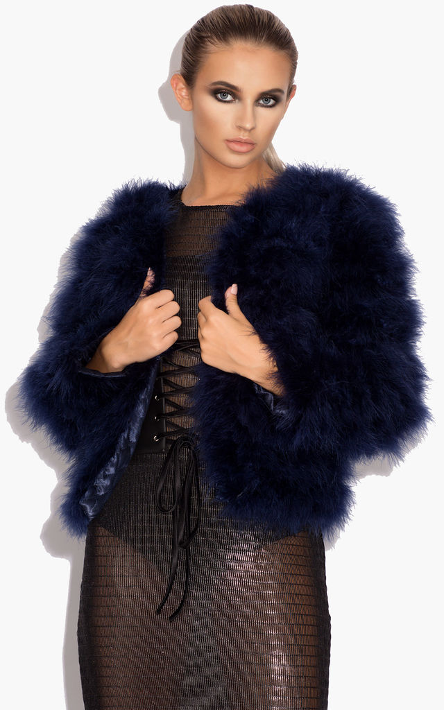 Harper Fluffy Jacket with Satin Lining in Navy Blue by Karizma