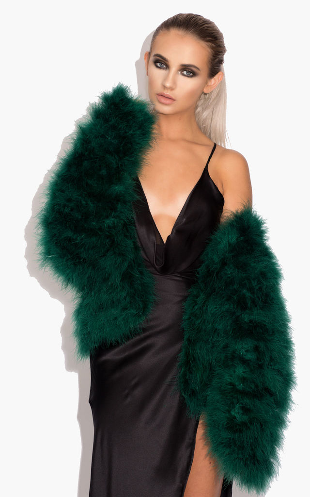 Harper Fluffy Jacket with Satin Lining in Emerald Green by Karizma