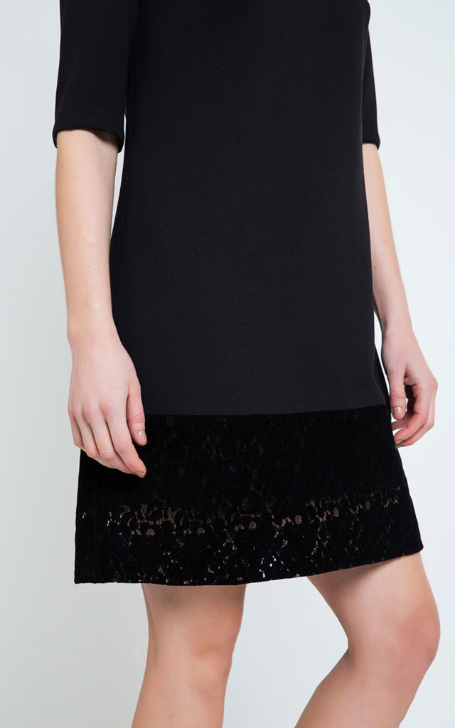 A Line Dress with Half Sleeves in Black by Conquista Fashion