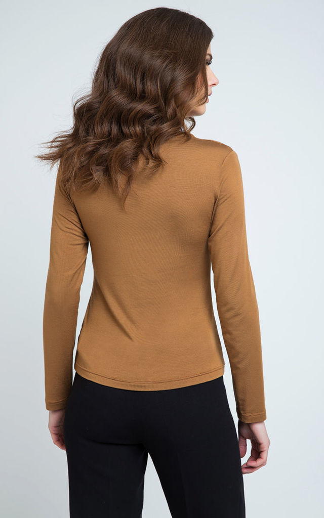 Long Sleeve Jersey Top in camel by Conquista Fashion