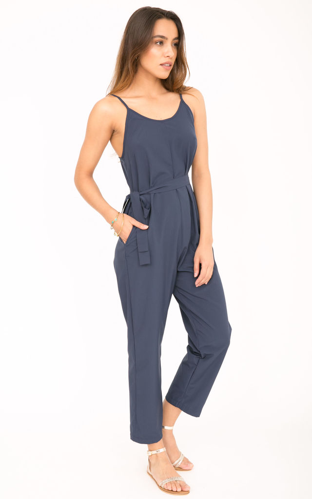 Strappy Jumpsuit Relaxed Romper Blue by likemary