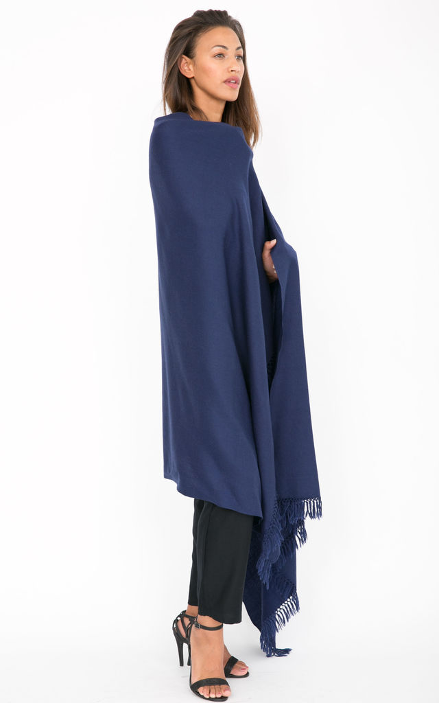 Kasa Oversized Merino Wool Scarf in Navy by likemary