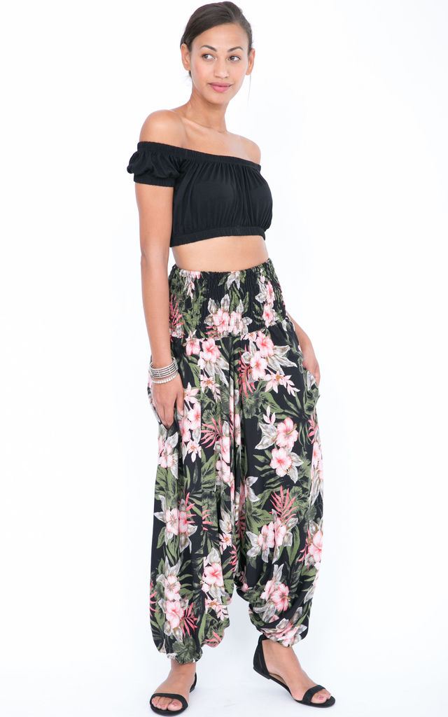 1da76867a29 2 in 1 Harem Trousers and Bandeau Jumpsuit Tropical Florals by likemary