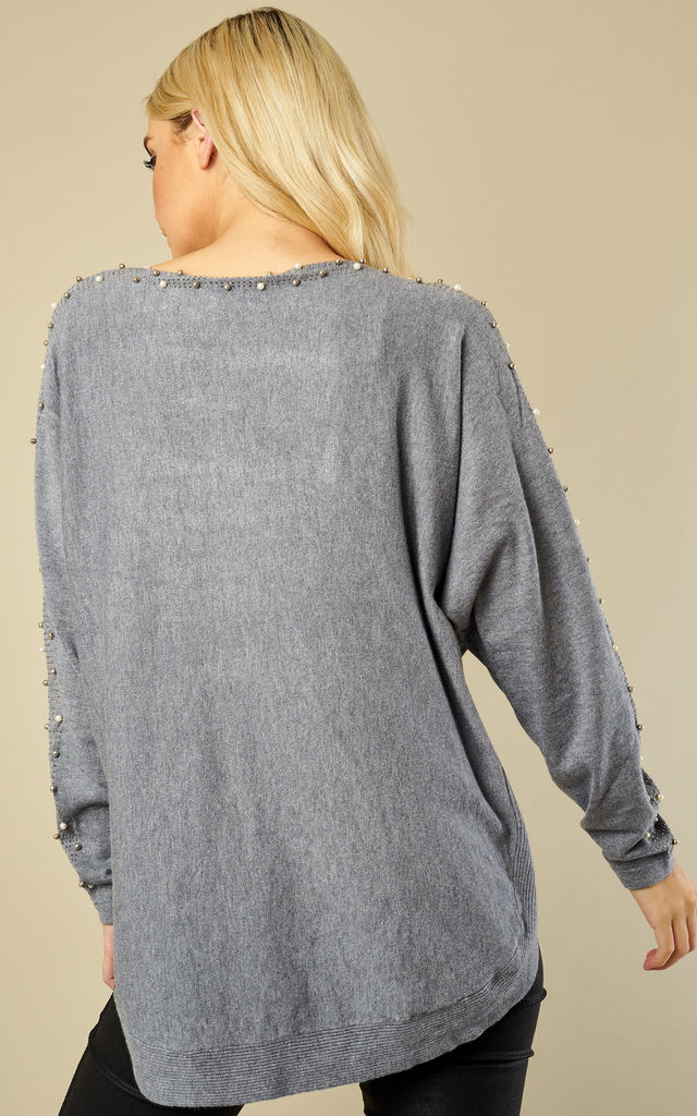 Grey Two Pocket Pearl and Stud Trim Jumper by Bella and Blue