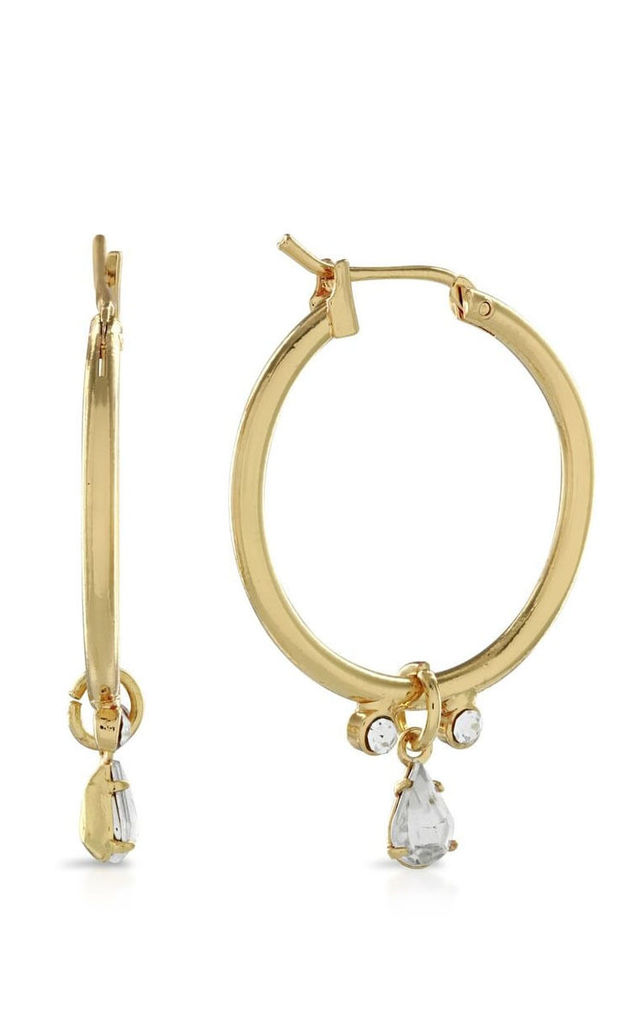Johnny Loves Rosie Gold Crystal Drop Hoops by Johnny Loves Rosie