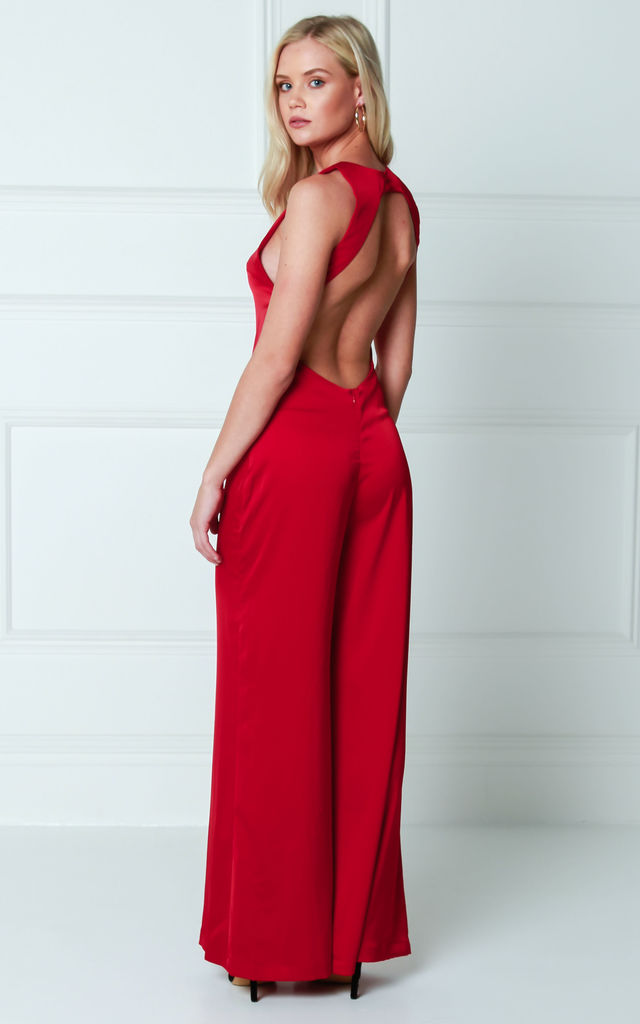 Satin Maxi Backless Wide Leg Evening Jumpsuit - Red by Pretty Lavish