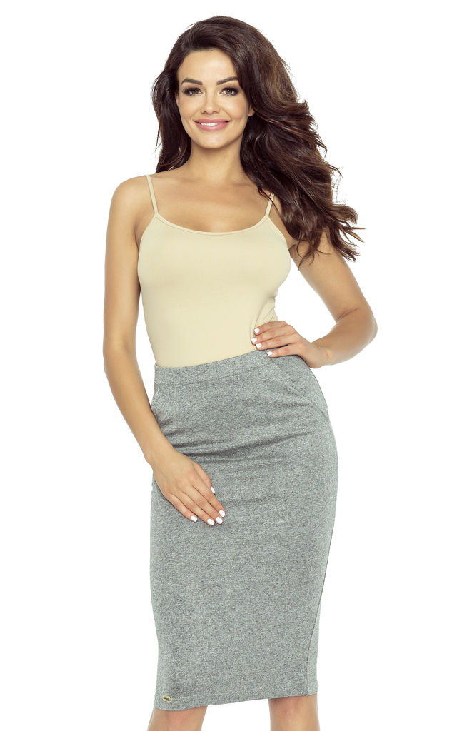 Dark Grey Midi Pencil Skirt by Bergamo