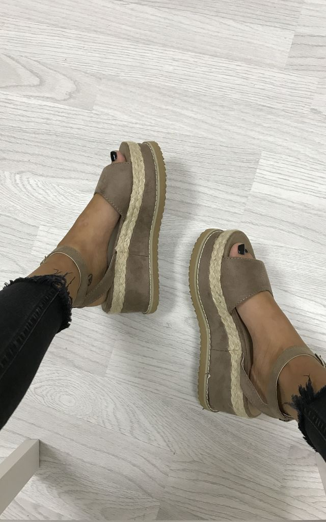 Braided Espadrille Wedge Sandals - Mocha Suede by AJ | VOYAGE