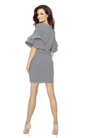 Black Stripe frill Sleeve Dress by Bergamo