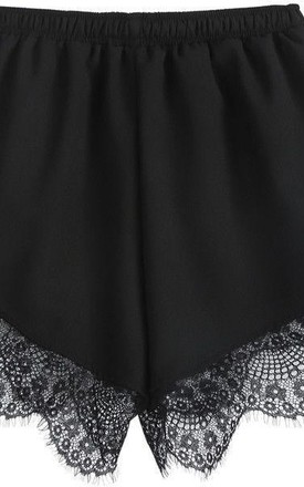LILIPEARL Lace detail satin shorts - Black - lili pearl by LILIPEARL