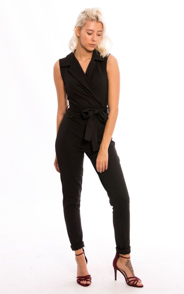 Front Tie Wrap Over Jumpsuit -Black by Npire London