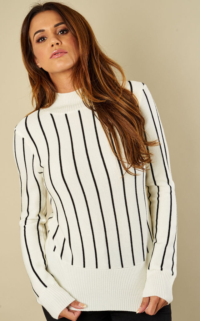 STRIPED LSLV SWEATER W/ BACK RIBBON DETAILS by English Factory
