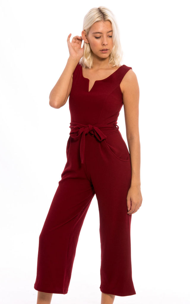 Front Tie Pocket Culottes Jumpsuit -Wine by Npire London