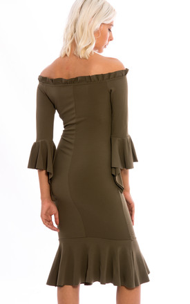 Off Shoulder Frill Hem Midi Dress -Khaki by Npire London
