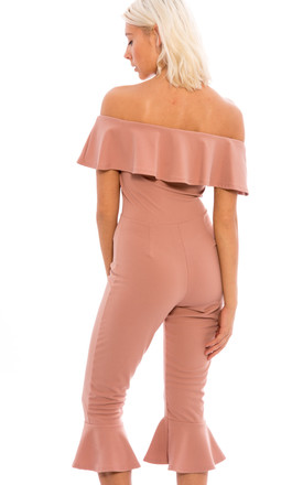 Off Shoulder Frill Hem Culottes Jumpsuit - Blush Pink by Npire London