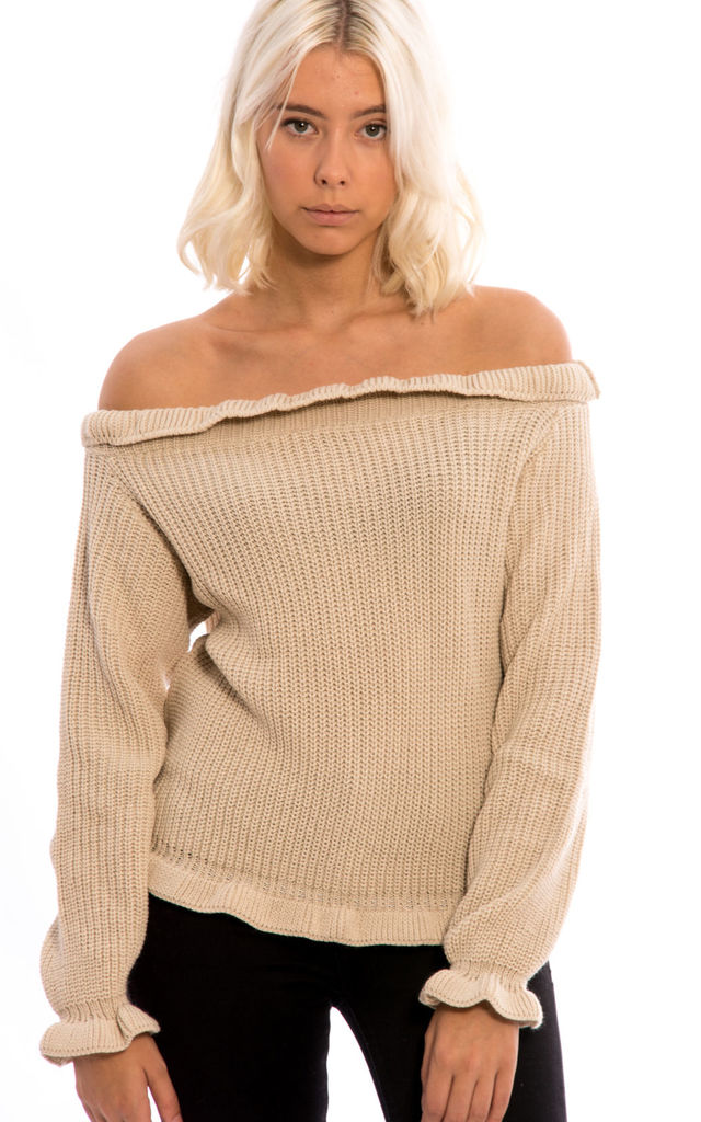 Long Sleeves Off Shoulder Jumper - Stone by Npire London