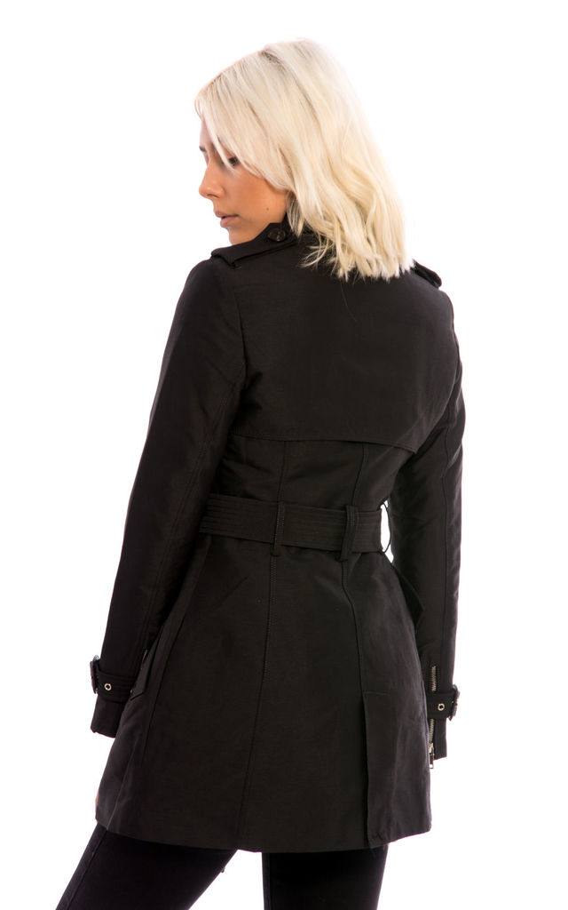 Double Breast Collar Belted Jacket -Black by Npire London