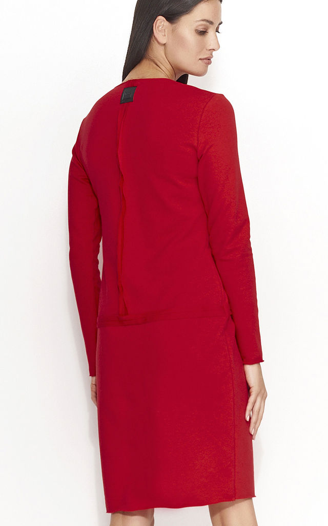Deep Red Neckline Cut Long Sleeve Dress by Makadamia