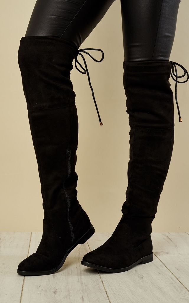 06c0ecfa706 Black Faux Suede Knee High Tie Back Boots By Truffle Collection