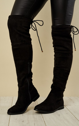 Black Faux Suede Knee High Tie Back Boots by Truffle Collection Product photo