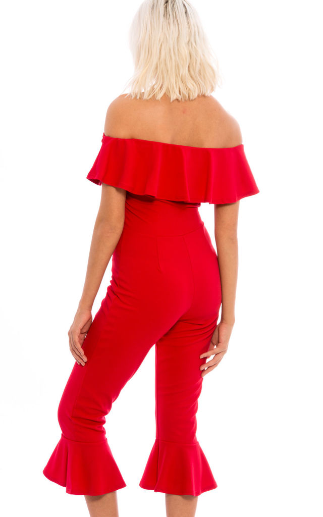 Off Shoulder Frill Hem Culottes Jumpsuit - Red by Npire London